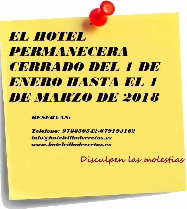 Cerrado por vacaciones hotel villa de cretas cerrado por vacaciones 2018 thecheapjerseys Choice Image